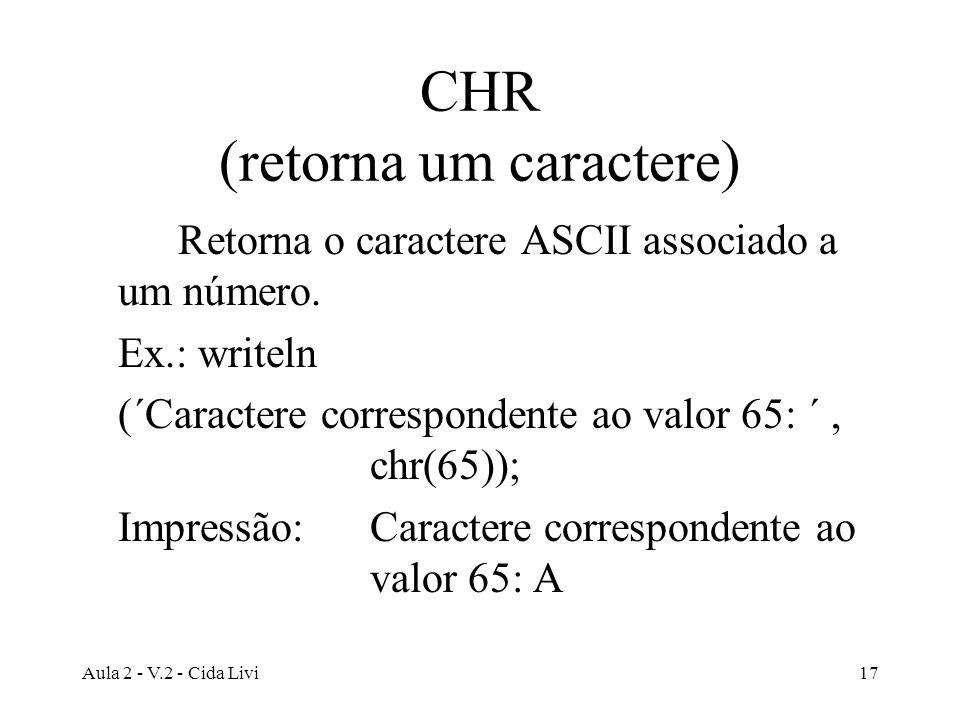 Aula 2 - V.2 - Cida Livi17 CHR (retorna um caractere) Retorna o caractere ASCII associado a um número. Ex.: writeln (´Caractere correspondente ao valo