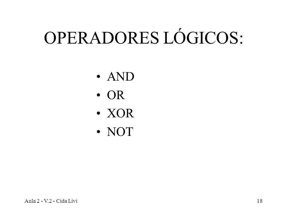 Aula 2 - V.2 - Cida Livi18 OPERADORES LÓGICOS: AND OR XOR NOT
