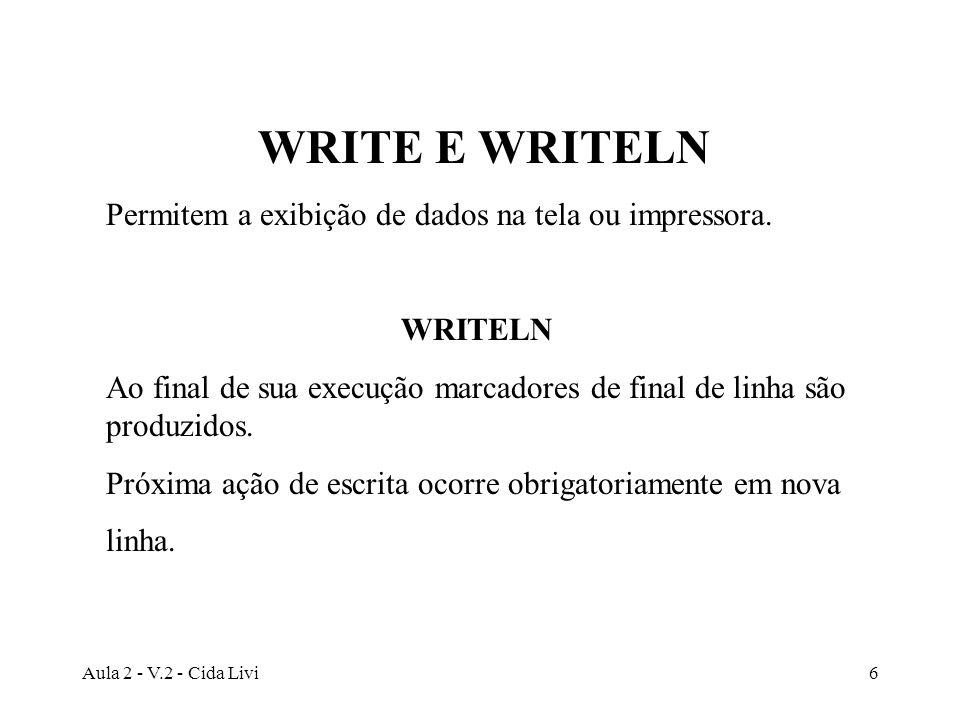 Aula 2 - V.2 - Cida Livi6 WRITE E WRITELN Permitem a exibição de dados na tela ou impressora. WRITELN Ao final de sua execução marcadores de final de