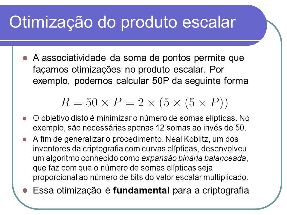 Otimização do produto escalar A associatividade da soma de pontos permite que façamos otimizações no produto escalar. Por exemplo, podemos calcular 50