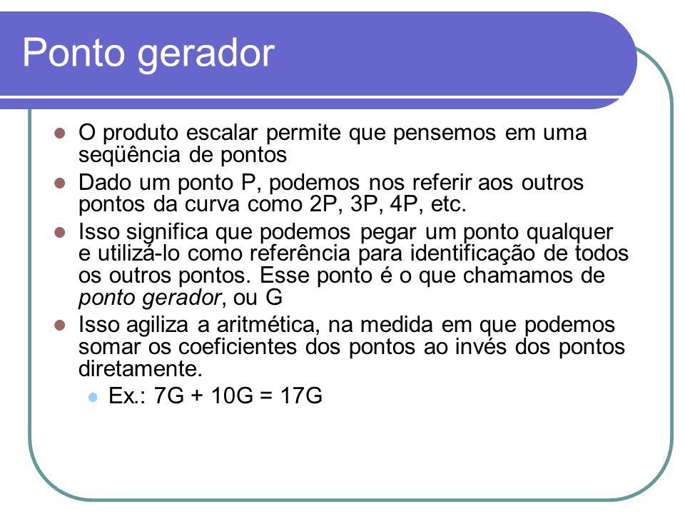 Ponto gerador O produto escalar permite que pensemos em uma seqüência de pontos Dado um ponto P, podemos nos referir aos outros pontos da curva como 2