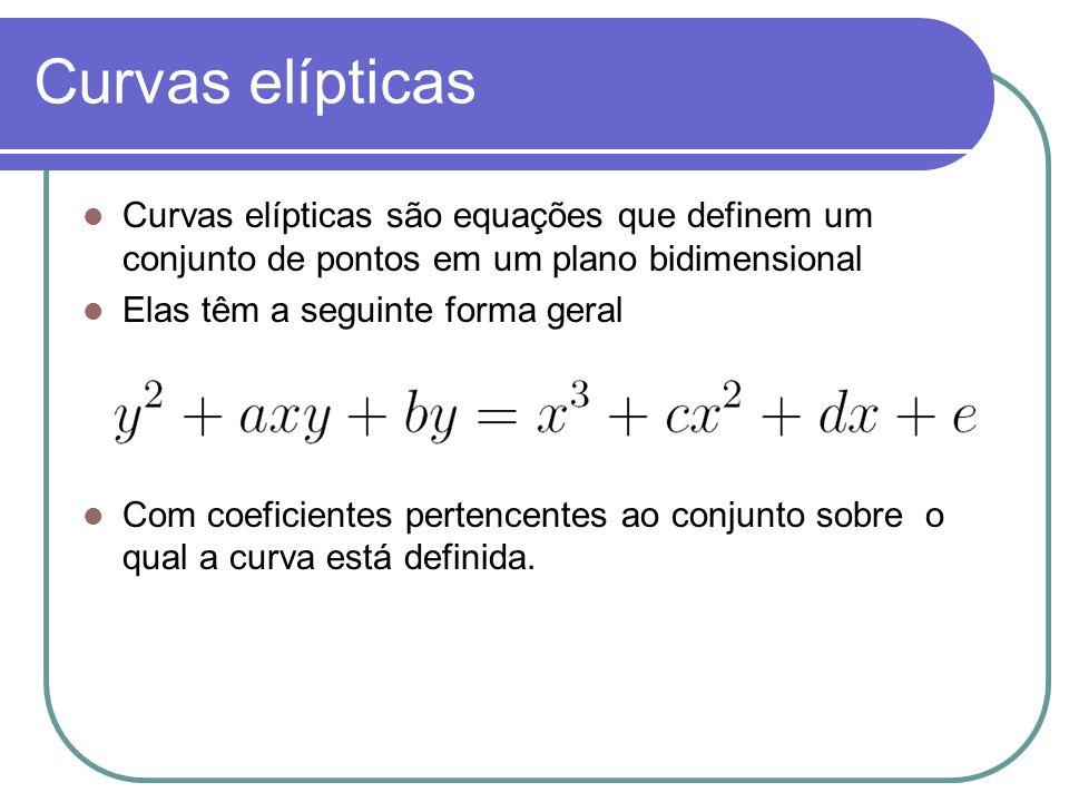Curvas elípticas Curvas elípticas são equações que definem um conjunto de pontos em um plano bidimensional Elas têm a seguinte forma geral Com coefici