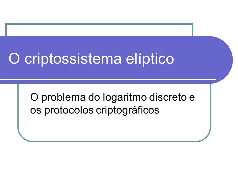 O criptossistema elíptico O problema do logaritmo discreto e os protocolos criptográficos