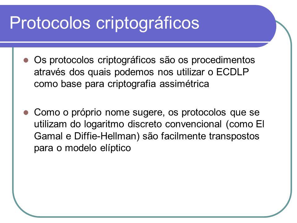 Protocolos criptográficos Os protocolos criptográficos são os procedimentos através dos quais podemos nos utilizar o ECDLP como base para criptografia