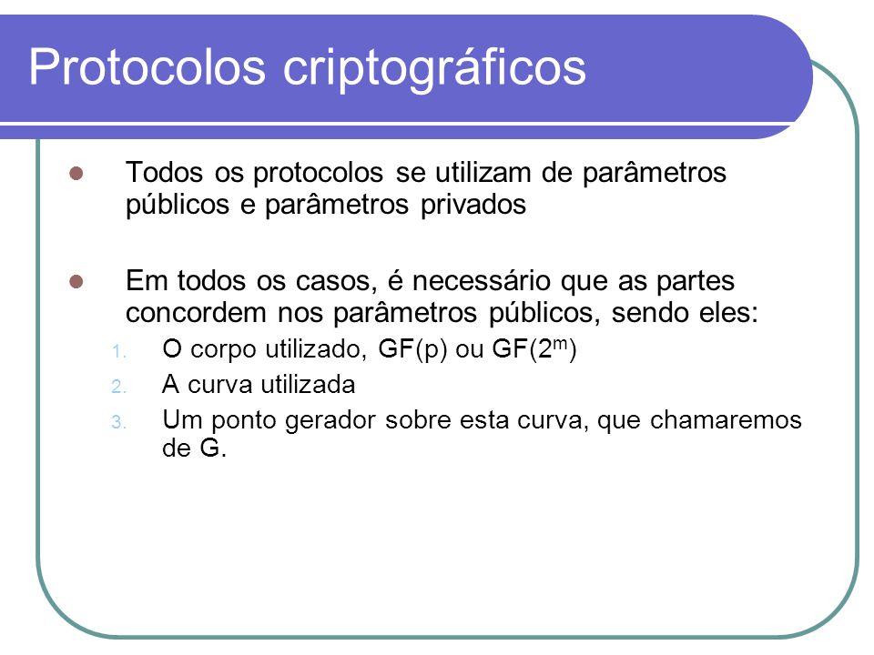 Protocolos criptográficos Todos os protocolos se utilizam de parâmetros públicos e parâmetros privados Em todos os casos, é necessário que as partes c