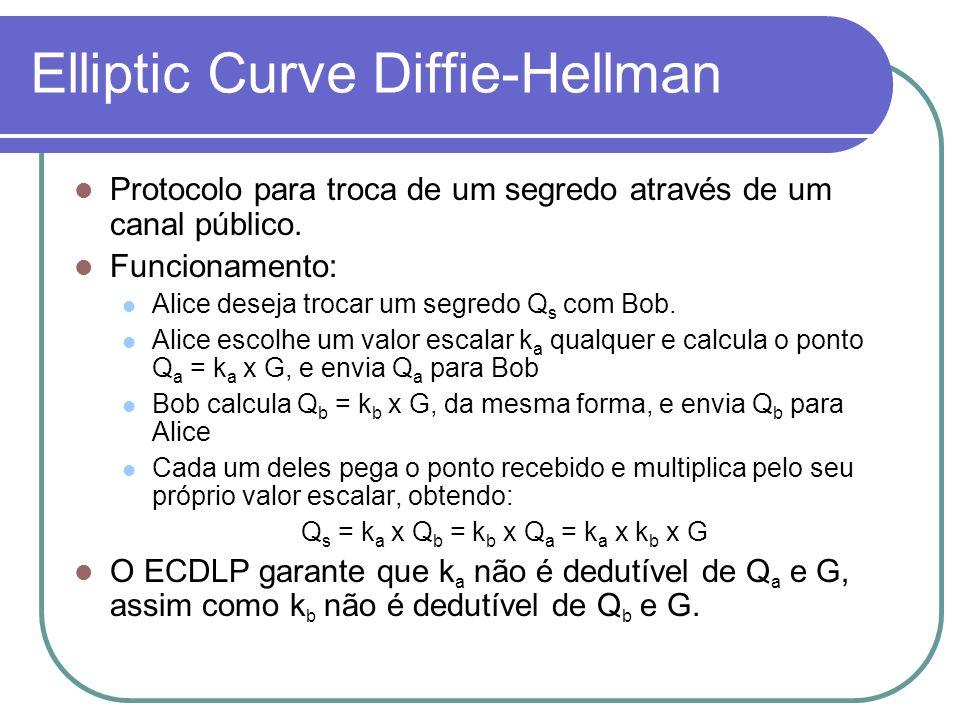 Elliptic Curve Diffie-Hellman Protocolo para troca de um segredo através de um canal público. Funcionamento: Alice deseja trocar um segredo Q s com Bo