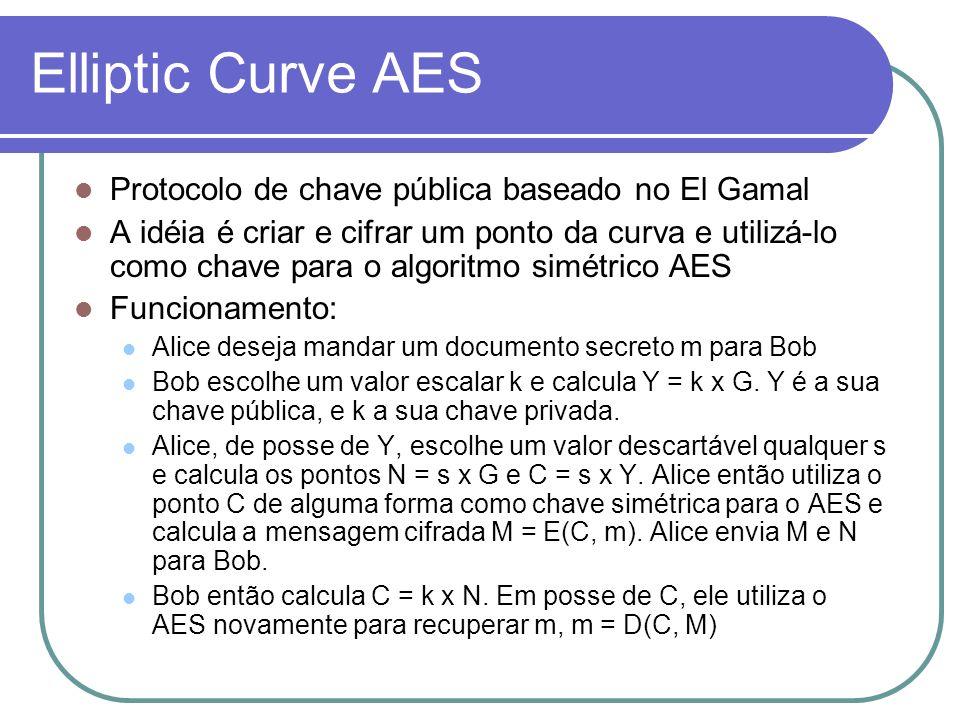 Elliptic Curve AES Protocolo de chave pública baseado no El Gamal A idéia é criar e cifrar um ponto da curva e utilizá-lo como chave para o algoritmo