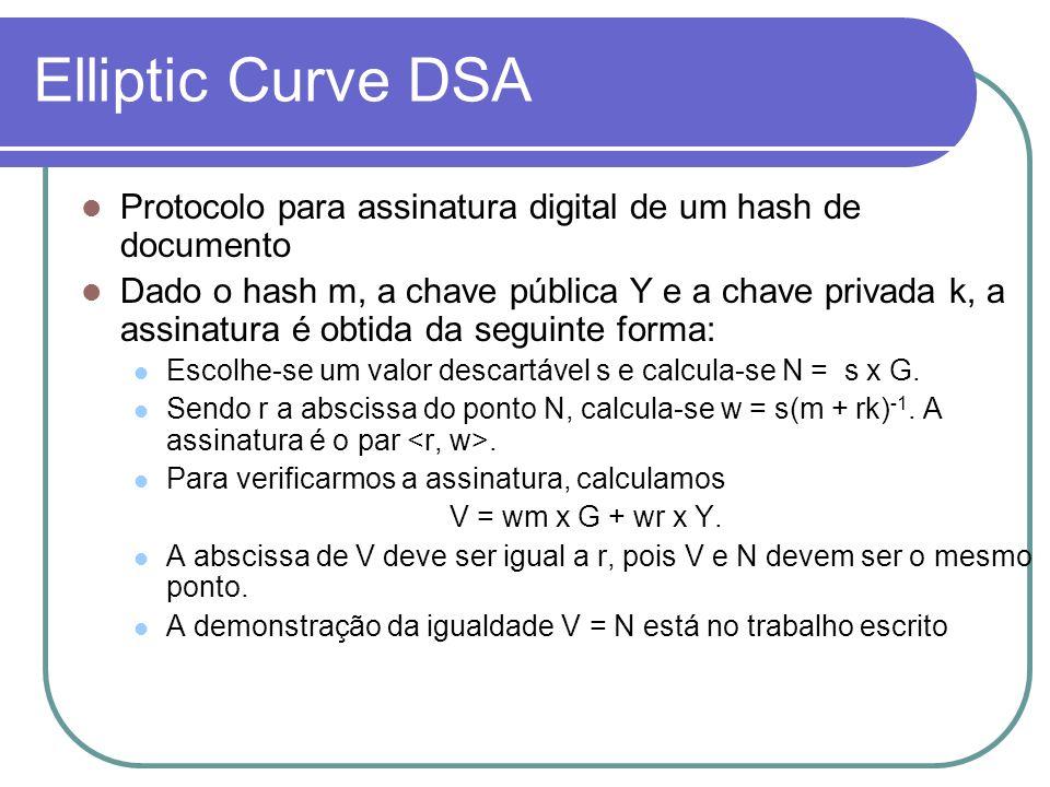 Elliptic Curve DSA Protocolo para assinatura digital de um hash de documento Dado o hash m, a chave pública Y e a chave privada k, a assinatura é obti