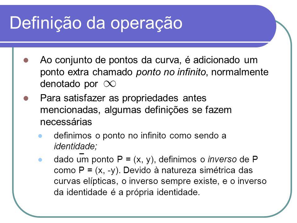 Definição da operação Ao conjunto de pontos da curva, é adicionado um ponto extra chamado ponto no infinito, normalmente denotado por Para satisfazer