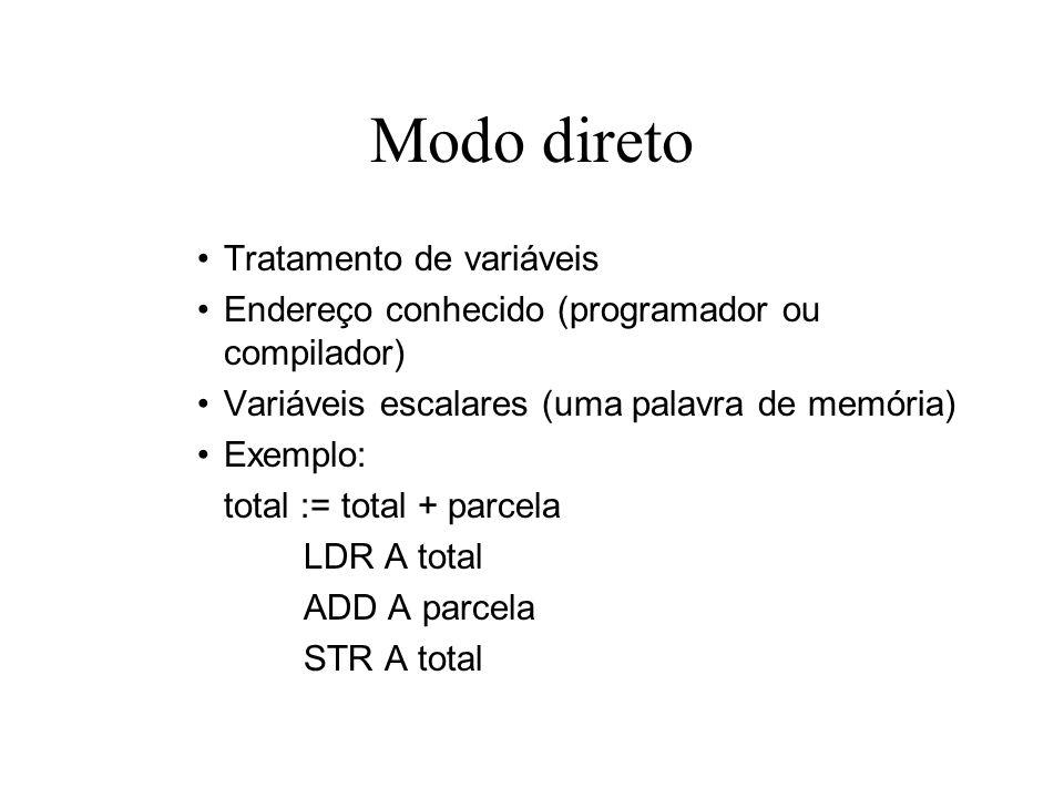 Modo imediato Tratamento de constantes Não necessita reservar posições de memória (de variáveis) Economiza um acesso à memória Exemplos: contador := contador + 1; total := 0; LDR A contadorLDR A #0 ADD A #1STR A total STR A contador