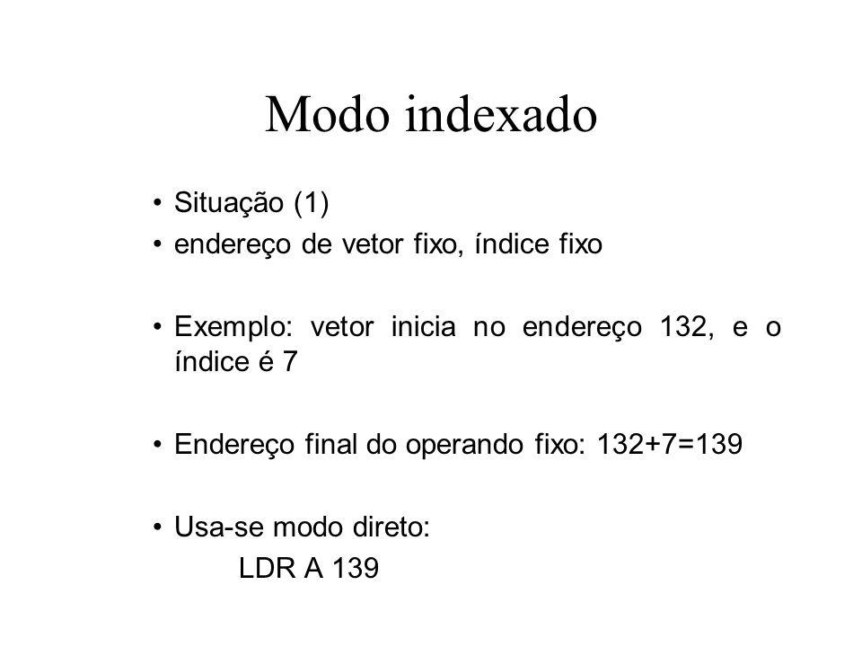 Modo indexado Situação (2) endereço de vetor fixo, índice variável Exemplo: vetor inicia no endereço 132, e o índice é dado pela variável i Endereço final do operando fixo: 132+i Usa-se modo indexado: LDR X i LDR A 132,X