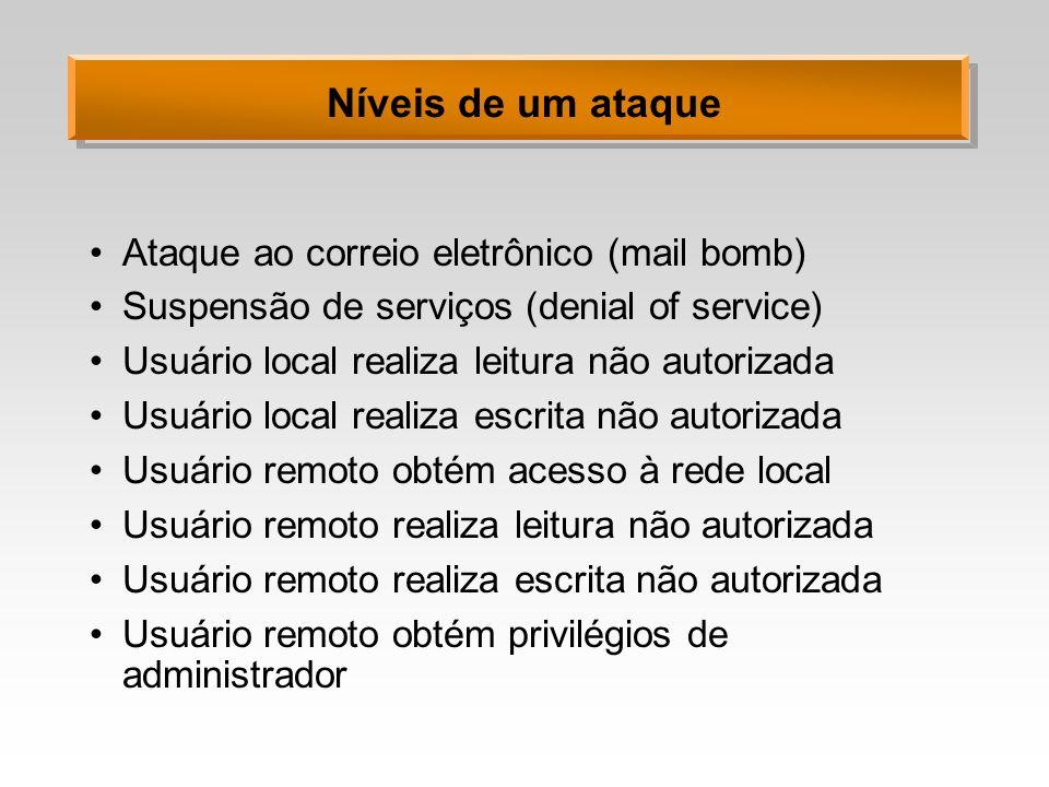Níveis de um ataque Ataque ao correio eletrônico (mail bomb) Suspensão de serviços (denial of service) Usuário local realiza leitura não autorizada Us