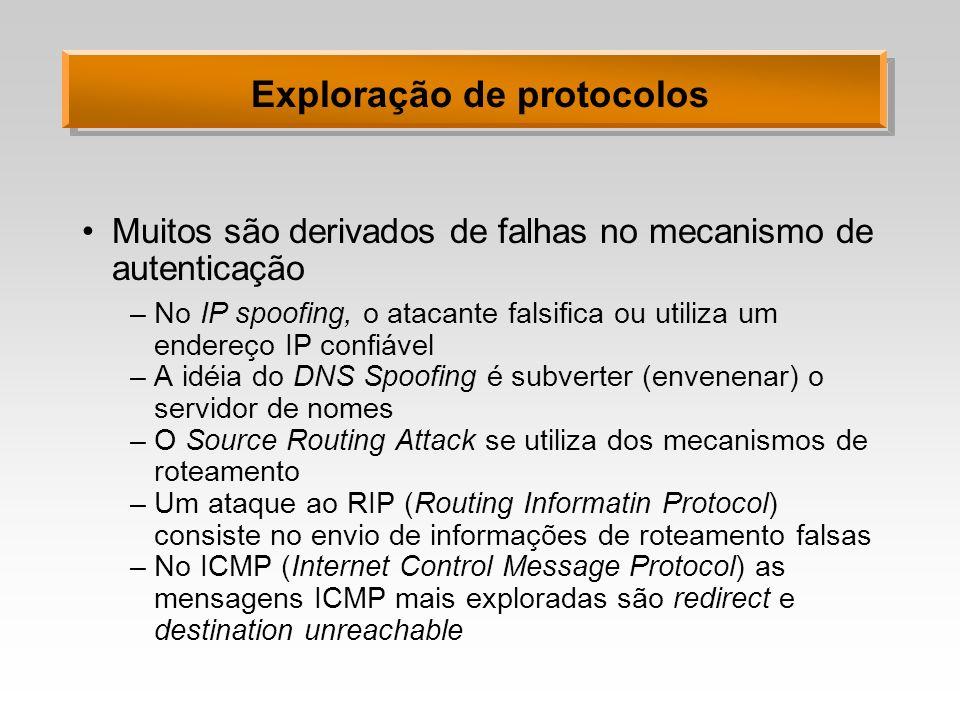 Exploração de protocolos Muitos são derivados de falhas no mecanismo de autenticação –No IP spoofing, o atacante falsifica ou utiliza um endereço IP c
