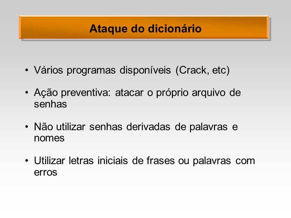 Ataque do dicionário Vários programas disponíveis (Crack, etc) Ação preventiva: atacar o próprio arquivo de senhas Não utilizar senhas derivadas de pa