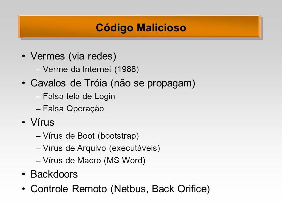 Código Malicioso Vermes (via redes) –Verme da Internet (1988) Cavalos de Tróia (não se propagam) –Falsa tela de Login –Falsa Operação Vírus –Vírus de