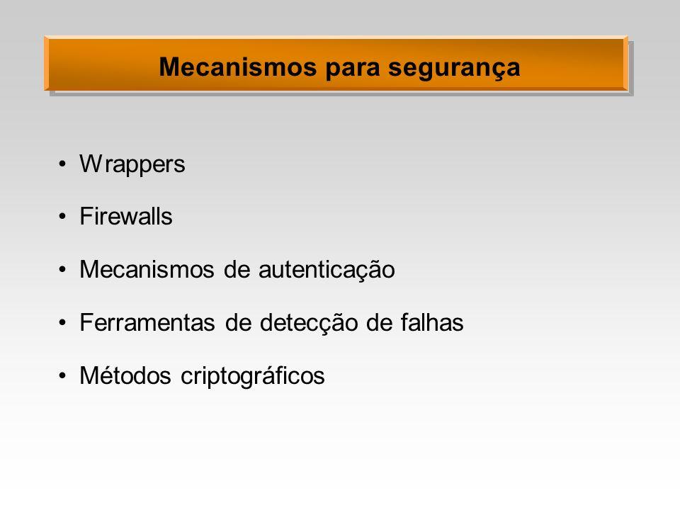 Mecanismos para segurança Wrappers Firewalls Mecanismos de autenticação Ferramentas de detecção de falhas Métodos criptográficos