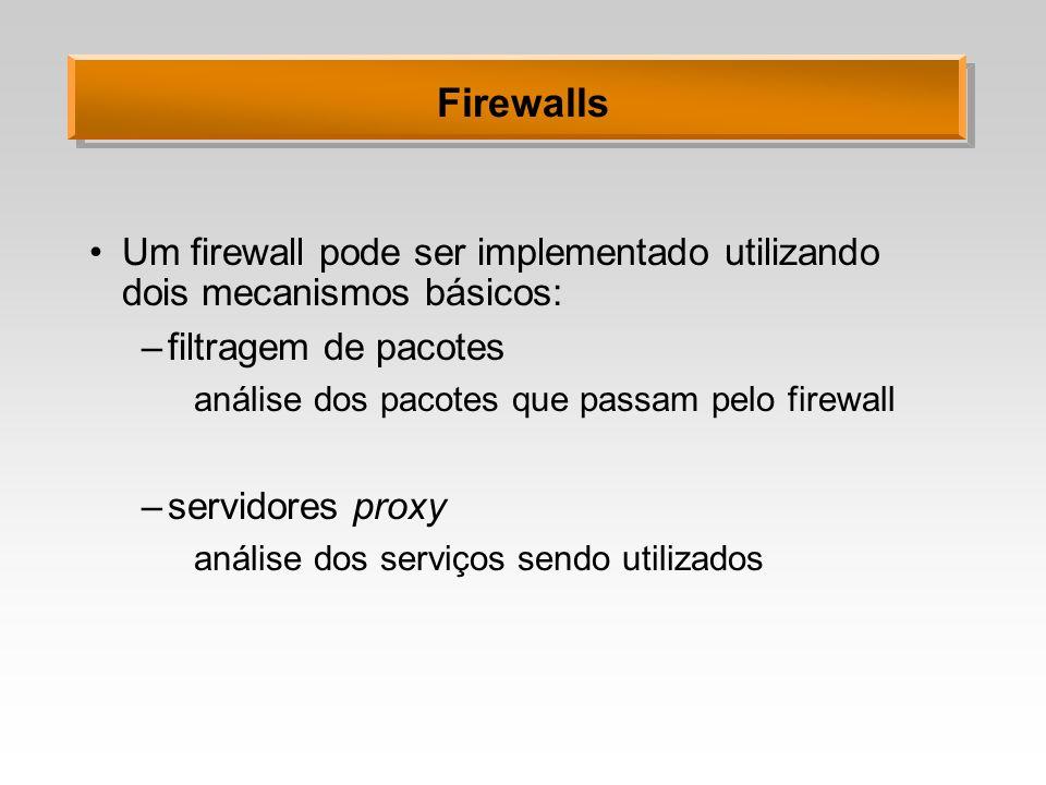 Firewalls Um firewall pode ser implementado utilizando dois mecanismos básicos: –filtragem de pacotes análise dos pacotes que passam pelo firewall –se