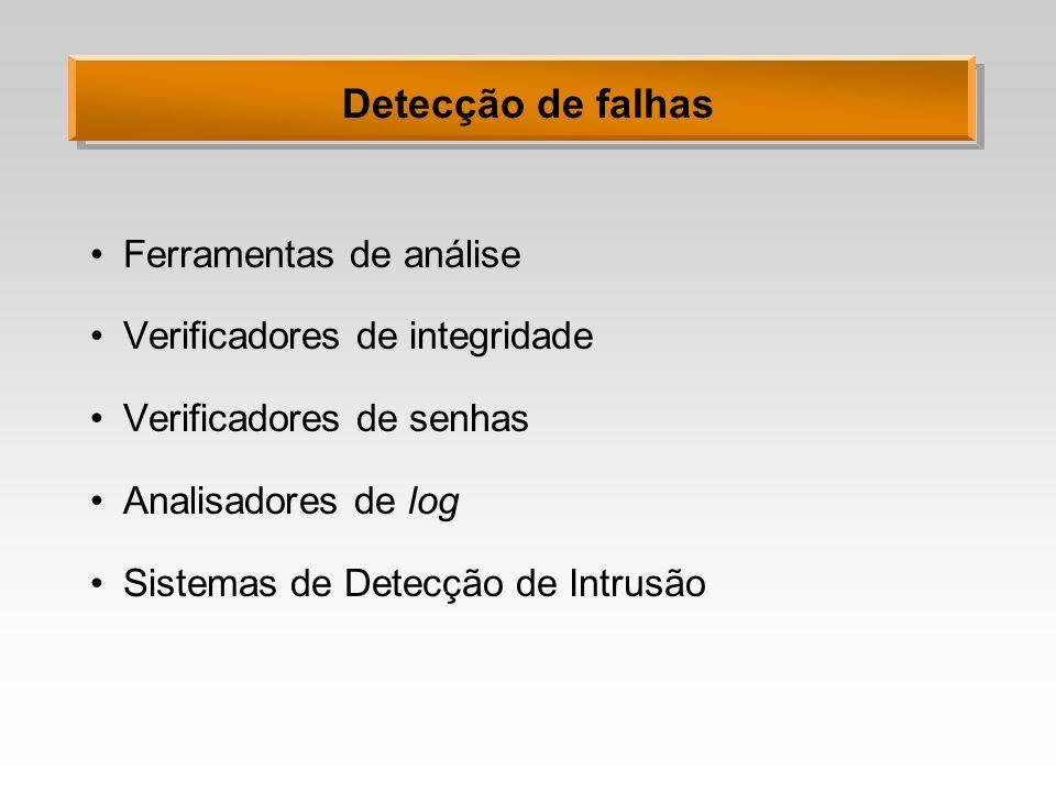 Detecção de falhas Ferramentas de análise Verificadores de integridade Verificadores de senhas Analisadores de log Sistemas de Detecção de Intrusão