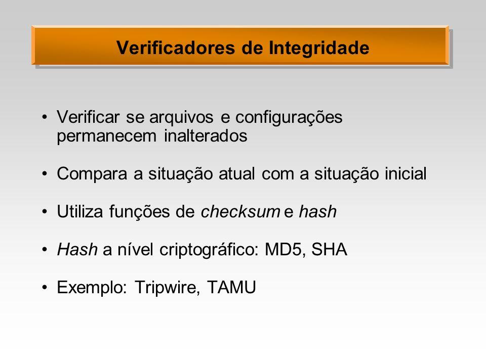 Verificadores de Integridade Verificar se arquivos e configurações permanecem inalterados Compara a situação atual com a situação inicial Utiliza funç