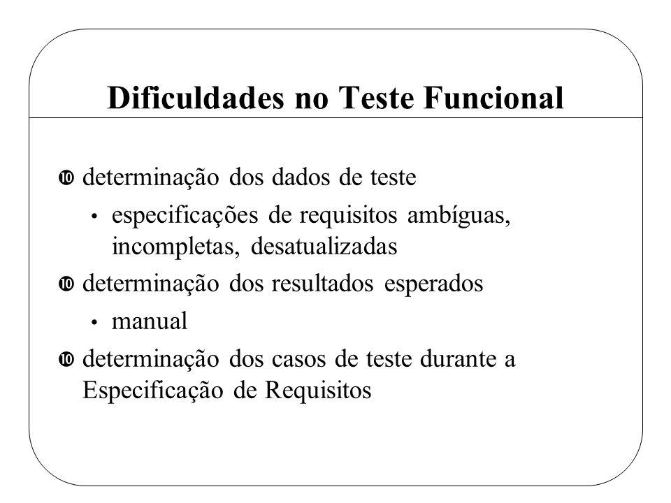 Dificuldades no Teste Funcional • determinação dos dados de teste especificações de requisitos ambíguas, incompletas, desatualizadas • determinação do