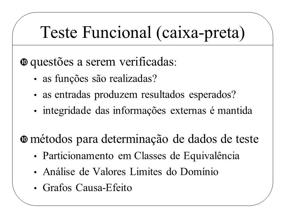 Teste Funcional (caixa-preta) • questões a serem verificadas : as funções são realizadas? as entradas produzem resultados esperados? integridade das i