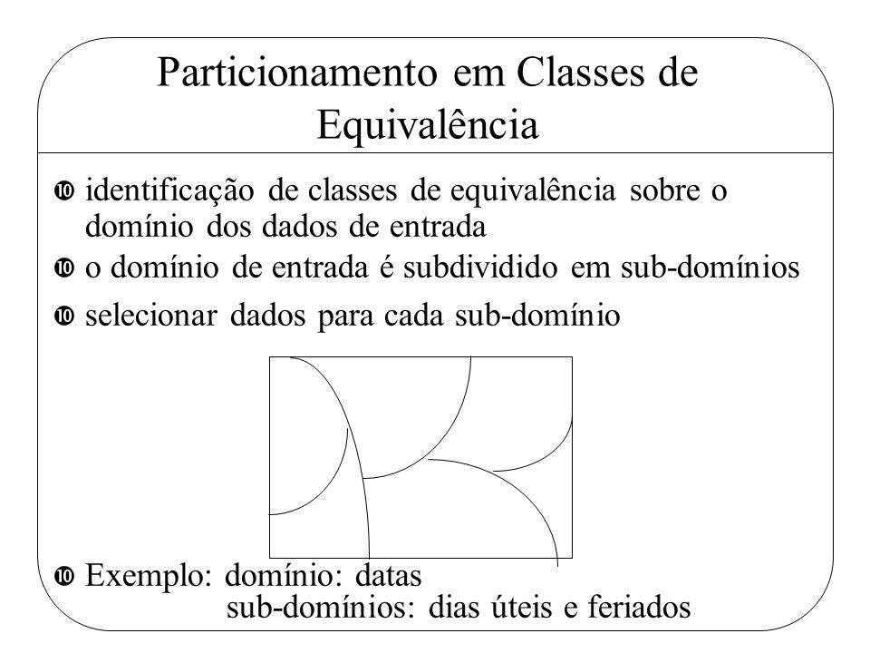 Particionamento em Classes de Equivalência • identificação de classes de equivalência sobre o domínio dos dados de entrada • o domínio de entrada é su