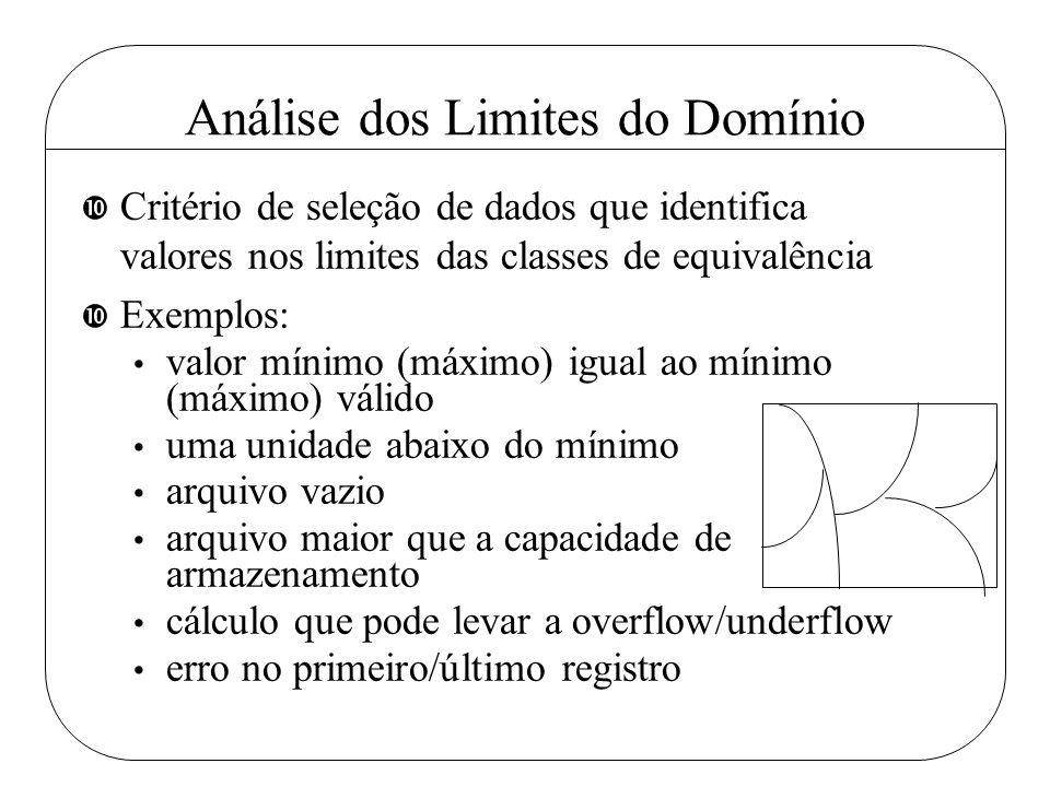 Análise dos Limites do Domínio • Critério de seleção de dados que identifica valores nos limites das classes de equivalência • Exemplos: valor mínimo