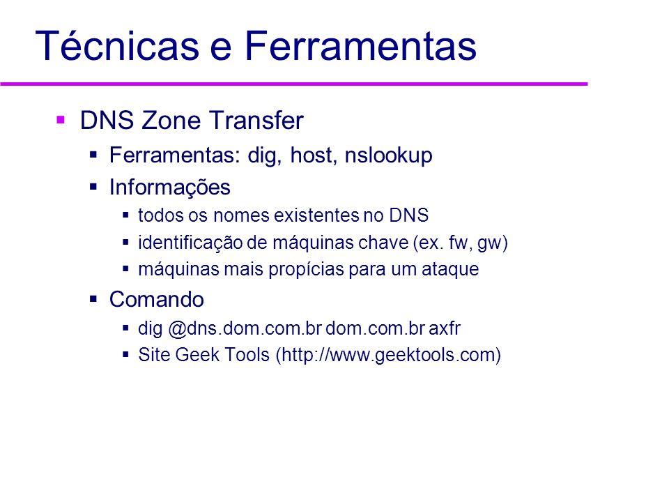 Técnicas e Ferramentas DNS Zone Transfer Ferramentas: dig, host, nslookup Informações todos os nomes existentes no DNS identificação de máquinas chave