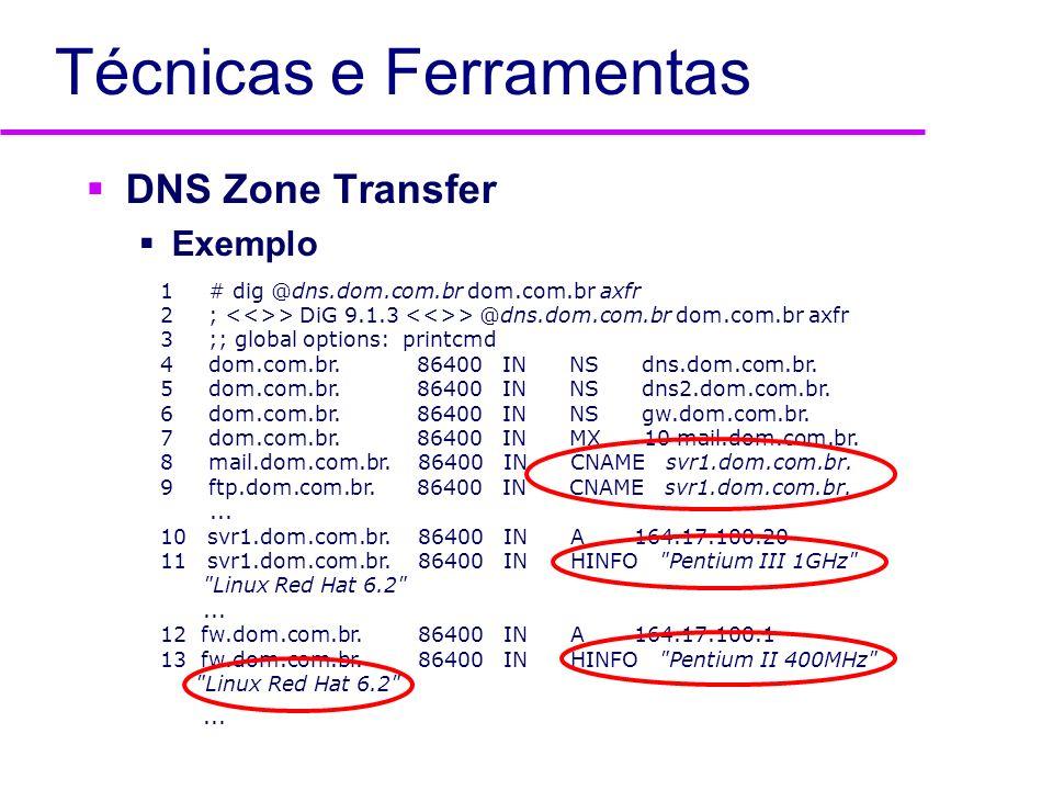 Técnicas e Ferramentas DNS Zone Transfer Exemplo 1 # dig @dns.dom.com.br dom.com.br axfr 2 ; > DiG 9.1.3 > @dns.dom.com.br dom.com.br axfr 3 ;; global