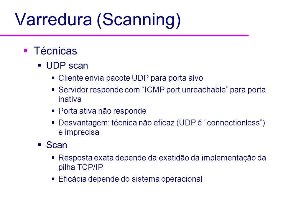 Varredura (Scanning) Técnicas UDP scan Cliente envia pacote UDP para porta alvo Servidor responde com ICMP port unreachable para porta inativa Porta a