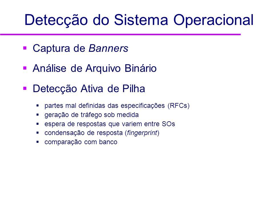 Detecção do Sistema Operacional Captura de Banners Análise de Arquivo Binário Detecção Ativa de Pilha partes mal definidas das especificações (RFCs) g