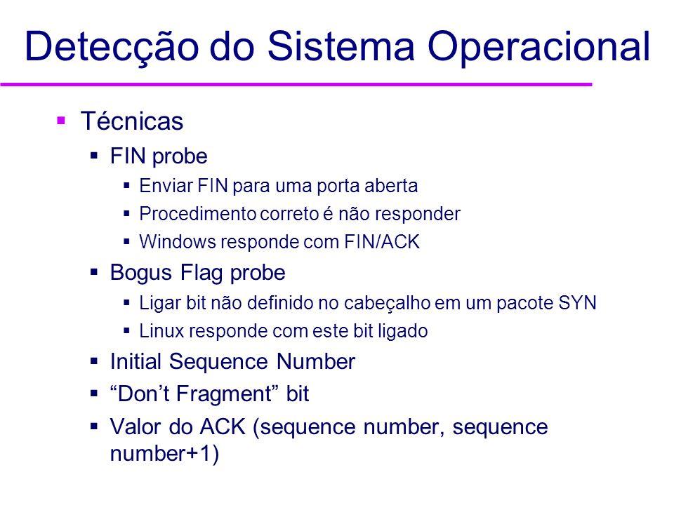 Detecção do Sistema Operacional Técnicas FIN probe Enviar FIN para uma porta aberta Procedimento correto é não responder Windows responde com FIN/ACK