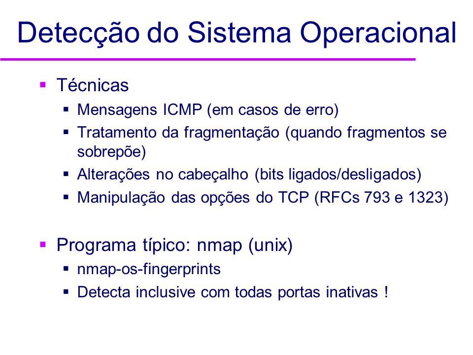 Detecção do Sistema Operacional Técnicas Mensagens ICMP (em casos de erro) Tratamento da fragmentação (quando fragmentos se sobrepõe) Alterações no ca