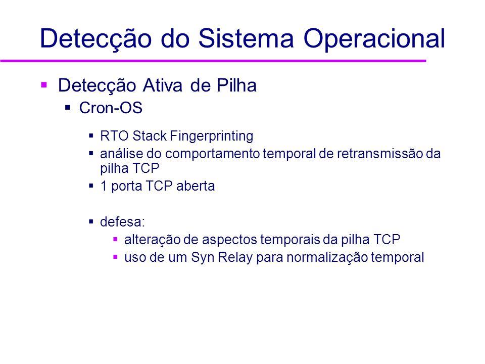 Detecção do Sistema Operacional Detecção Ativa de Pilha Cron-OS RTO Stack Fingerprinting análise do comportamento temporal de retransmissão da pilha T