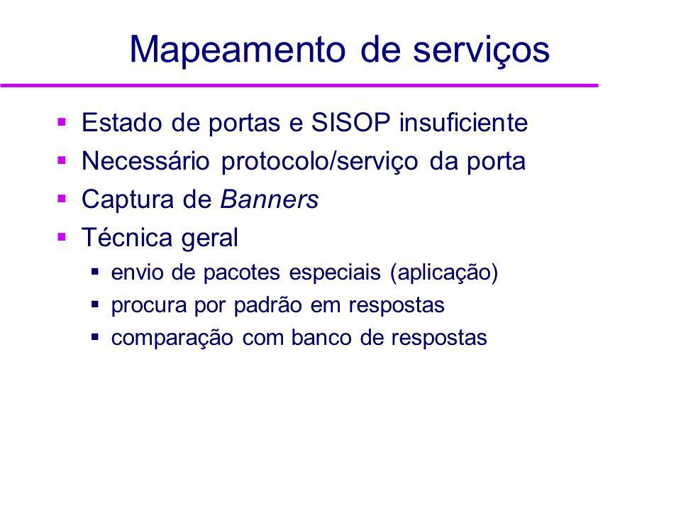 Mapeamento de serviços Estado de portas e SISOP insuficiente Necessário protocolo/serviço da porta Captura de Banners Técnica geral envio de pacotes e