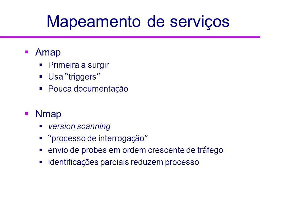 Mapeamento de serviços Amap Primeira a surgir Usa triggers Pouca documenta ç ão Nmap version scanning processo de interroga ç ão envio de probes em or