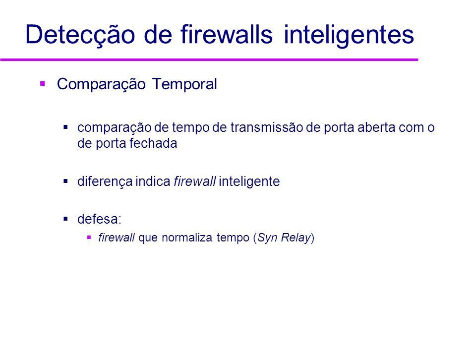 Detecção de firewalls inteligentes Comparação Temporal comparação de tempo de transmissão de porta aberta com o de porta fechada diferença indica fire