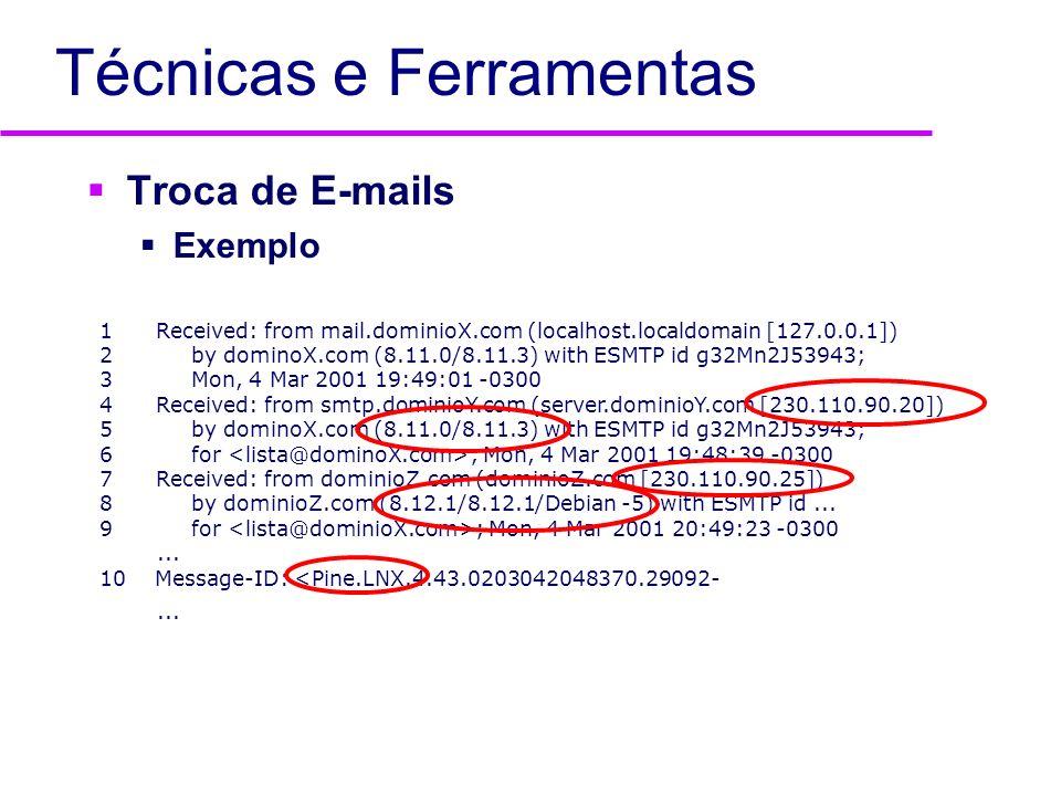 Técnicas e Ferramentas DNS Zone Transfer Ferramentas: dig, host, nslookup Informações todos os nomes existentes no DNS identificação de máquinas chave (ex.