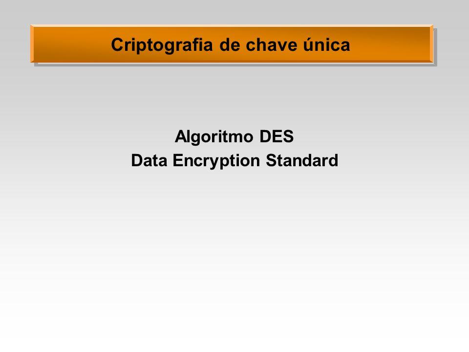 Criptografia de chave única Algoritmo DES Data Encryption Standard