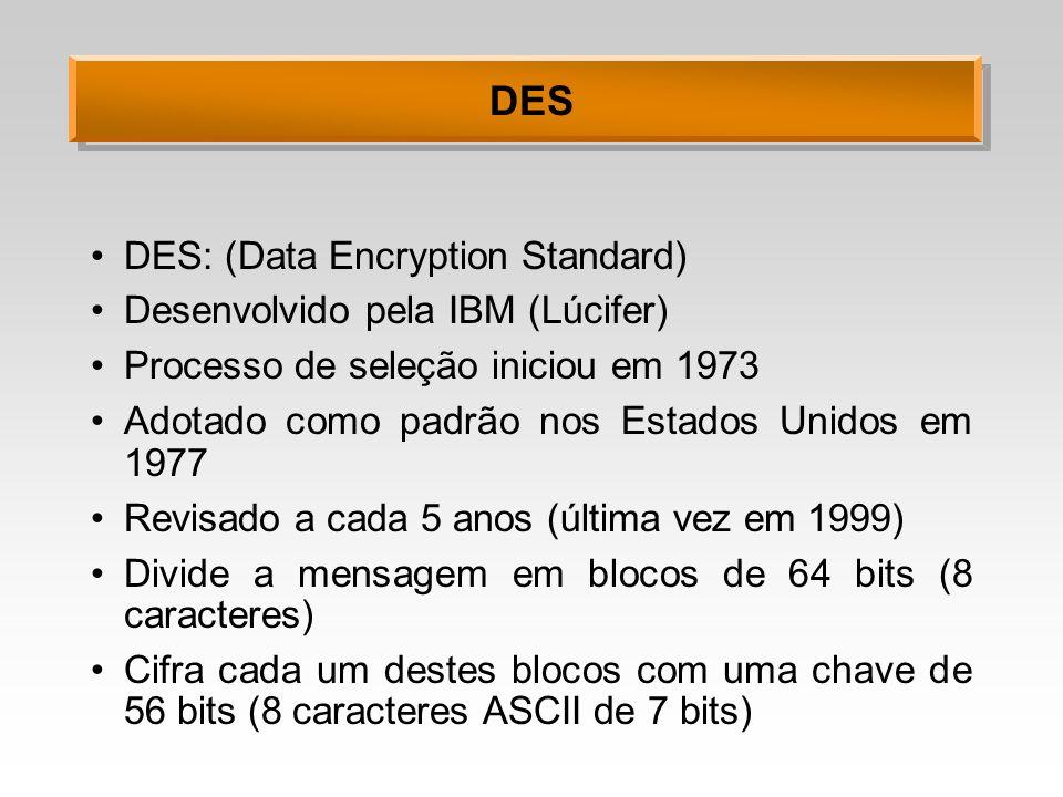 DES DES: (Data Encryption Standard) Desenvolvido pela IBM (Lúcifer) Processo de seleção iniciou em 1973 Adotado como padrão nos Estados Unidos em 1977