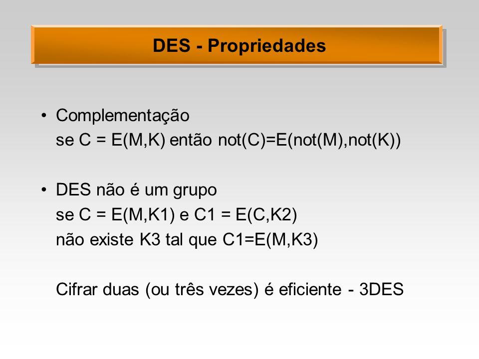 DES - Propriedades Complementação se C = E(M,K) então not(C)=E(not(M),not(K)) DES não é um grupo se C = E(M,K1) e C1 = E(C,K2) não existe K3 tal que C