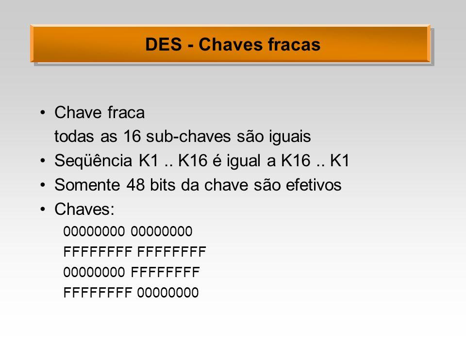 DES - Chaves fracas Chave fraca todas as 16 sub-chaves são iguais Seqüência K1.. K16 é igual a K16.. K1 Somente 48 bits da chave são efetivos Chaves: