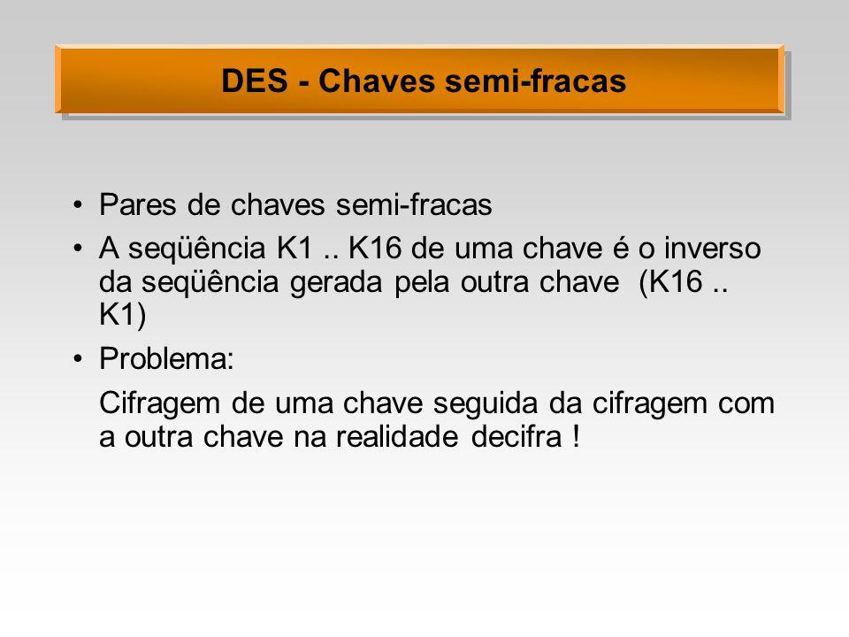 DES - Chaves semi-fracas Pares de chaves semi-fracas A seqüência K1.. K16 de uma chave é o inverso da seqüência gerada pela outra chave (K16.. K1) Pro