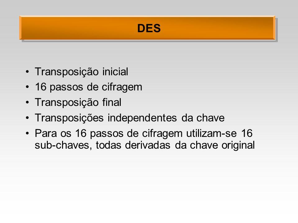 DES Transposição inicial 16 passos de cifragem Transposição final Transposições independentes da chave Para os 16 passos de cifragem utilizam-se 16 su
