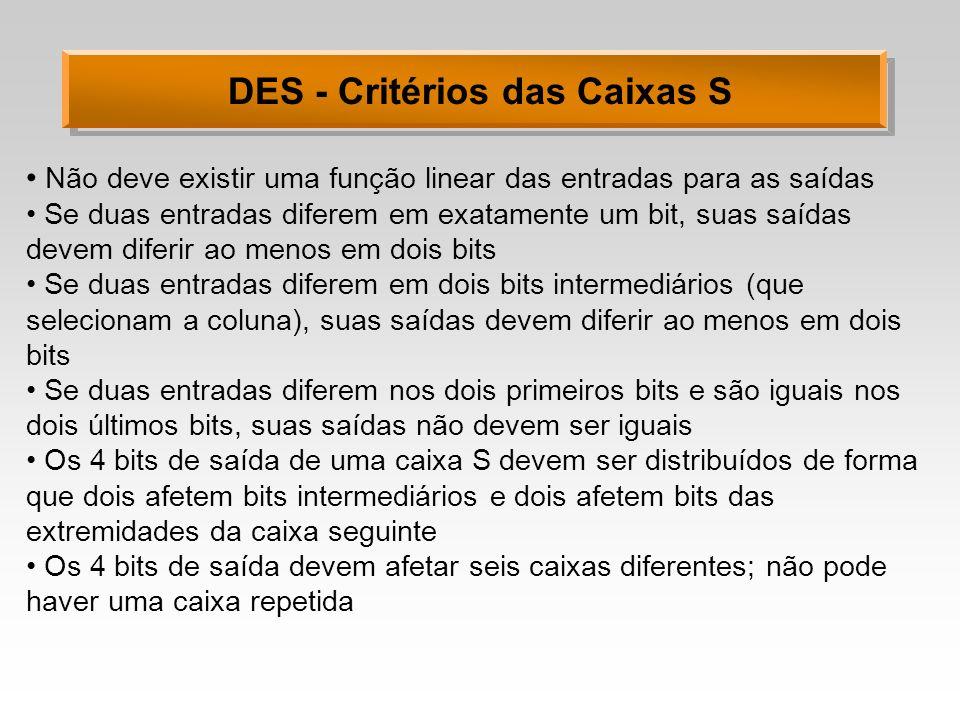 DES - Critérios das Caixas S Não deve existir uma função linear das entradas para as saídas Se duas entradas diferem em exatamente um bit, suas saídas