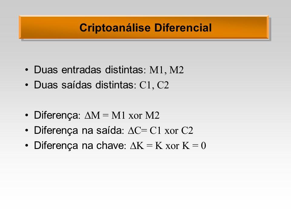 Criptoanálise Diferencial Duas entradas distintas : M1, M2 Duas saídas distintas : C1, C2 Diferença : M = M1 xor M2 Diferença na saída : C= C1 xor C2