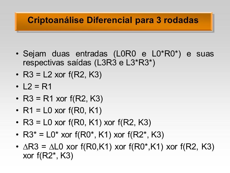 Criptoanálise Diferencial para 3 rodadas Sejam duas entradas (L0R0 e L0*R0*) e suas respectivas saídas (L3R3 e L3*R3*) R3 = L2 xor f(R2, K3) L2 = R1 R