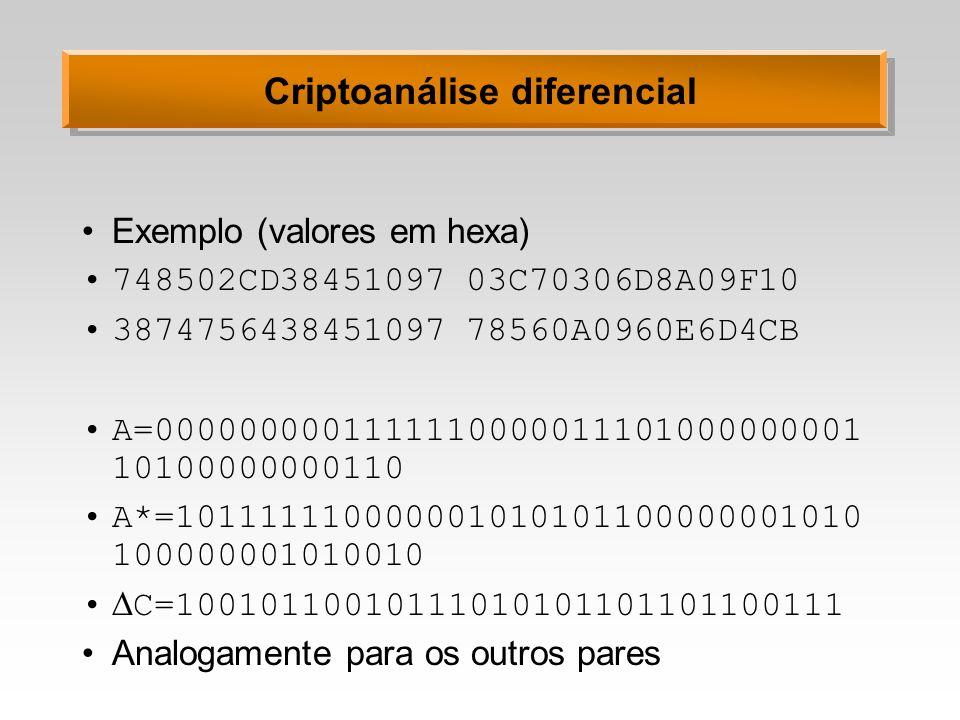 Criptoanálise diferencial Exemplo (valores em hexa) 748502CD3845109703C70306D8A09F10 387475643845109778560A0960E6D4CB A=000000000111111000001110100000