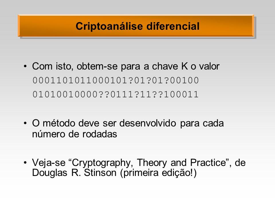 Criptoanálise diferencial Com isto, obtem-se para a chave K o valor 0001101011000101?01?01?00100 01010010000??0111?11??100011 O método deve ser desenv