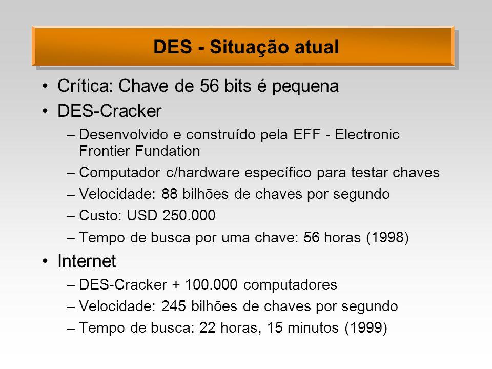 DES - Situação atual Crítica: Chave de 56 bits é pequena DES-Cracker –Desenvolvido e construído pela EFF - Electronic Frontier Fundation –Computador c